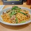 「亀よし食堂」でラム肉と小松菜スパゲッティ大盛を注文。日高屋がパスタに手を出した!タッチパネル形式のスパゲティ店ということでネタとして面白かった。