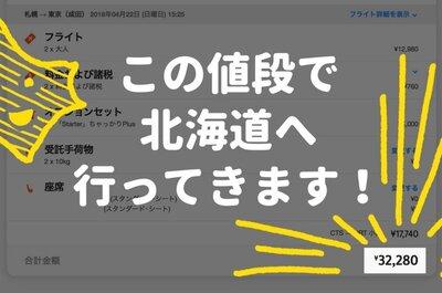 【東京から北海道は意外と安い!】東京から名古屋より安いので予約しました。