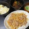 しょうが焼き、いとこ煮、味噌汁、白菜漬物