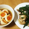 お酒のおつまみにも♪ 鶏皮のカリカリ炒めと簡単味付け卵