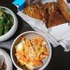 アジフライ、人参卵サラダ、ツナピーマン、味噌汁