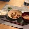 ごはん、鳥肉とレンコンの甘辛炒め、オクラ、切り干しと人参のスープ