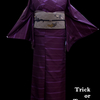 Happy Halloween!紫地ボーダー紬×蝙蝠に回り灯籠八寸名古屋帯