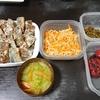 サンマの竜田揚げ、味噌汁、切り干し鶏ガラ炒め