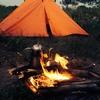 近所の土手でキャンプ二日目