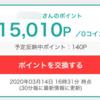 モッピーで15,000円達成しました!