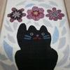布絵 「猫と雪割草と残雪と」