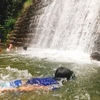 滋賀県オランダ堰堤で川遊び♫小さな子供OK。上流は飛び込みスポットあり!