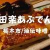 【栃木市グルメ】油伝味噌「田楽あぶでん」田楽盛り合わせで味噌の味くらべだ