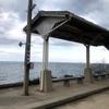 産直市の後、風の強い中、下灘駅へ・・冬の瀬戸内海眺めてました