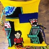 【オタク手芸道】編み込みナップサック、表側とりあえず編み上がり!