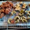 幸運な病のレシピ( 2209 )昼 :鶏唐揚、茄子天ぷら、ゴーヤ唐揚げ、ポテトサラダ
