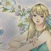『ミスティカ』より「青いドレスの少女」プリズマカラーで塗ってみた