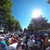 (北海道マラソン2016 覚え書き 〜1〜)スタート地点前からスタート地点へ Gブロックからスタート地点までは約8分かかった。招待選手なんかは2キロ先を軽くはしってるね(^o^)