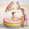 水彩画「海水浴」