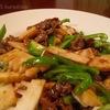 タケノコ活用その1、チンジャオロースの作り方、筍ご飯、お味噌汁、塩とオリーブオイルで。カモミール、咲きました!パクチー、ルッコラの種とり。バジル、モロヘイヤ、ズッキーニ、パクチー、発芽!