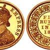 インディア ブリティッシュ1879年5ルピー金貨NGC PF66