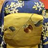 青地木の実小紋×柿刺繍名古屋帯