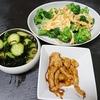 ブロッコリー玉子炒め、鶏皮焼き、スープ、きゅうり