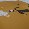 【名古屋帯】かわいすぎない!猫が遊ぶ辛子色の塩瀬の名古屋帯