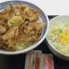 吉野家「豚生姜焼き丼 アタマ大盛」「生野菜サラダ」