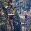 日立セメント太平田鉱山(4):助川山市民の森から索道を見る。