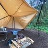 雨の日キャンプ!天幕内でも焚き火が出来る【バンドック ソロティピー1TC】純正フラップをキャノピー化して快適キャンプ