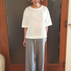 3色をイロチ買いした高島ちぢみのTシャツ「BIWACOTTON/半袖BIG‐T」のコーデ