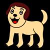 人の顔したかわいい犬 のイラスト