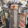 細縞とんぼ単衣小紋×生成り地金魚紗名古屋帯