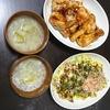 お好み炒め、手羽元甘辛焼き、スープ