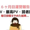 初心者のブログ開設 6ヶ月目(半年)運営報告【PV・アクセス数】