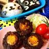 【キャラ弁】埋め込みスコッチエッグと猫おにぎり