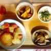 がんもとさつま揚げとじゃがいもの煮物、春菊、さつまいも、茄子豚肉