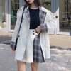 【韓国ファッション】レディース ジャケット コート チェック袖 ダブルブレスト