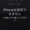 「iPhoneは使用できません。1分後にやり直してください」という表示が出て、焦った話。