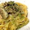 椎茸とひき肉の中華風パスタ