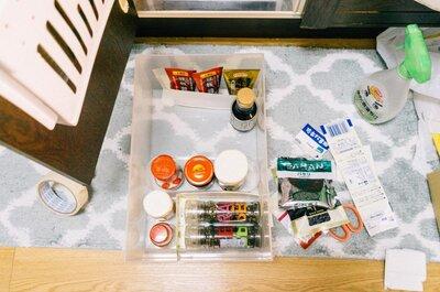 【キッチン調味料の整理をしよう】無印良品の整理ボックス+牛乳パックでかんたん整理。