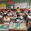 5年生:図工 遠近法を使って校舎を描く