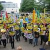 16日、県庁広場で憲法9条改憲反対の県民集会。3年ぶりの3者共闘が実現。