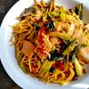 小松菜と揚げの炒め物スパゲッティ