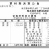 株式会社矢野経済研究所 第60期決算公告