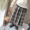 韓国ファッション チェック柄 プリーツスカート ハイウエスト ロングスカート 厚手 レトロ