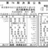 西川産業株式会社 第74期決算公告