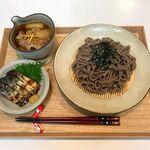 【献立・蕎麦】つけ蕎麦+鯖の冷燻