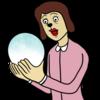 水晶占いをする女性 のイラスト