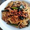 豚肉とほうれん草の豆板醤スパゲッティ