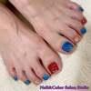 マイネイルをアレンジさせていただきました♡トリコロール的赤と青の鮮やかフットネイル☆