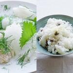【コウイカとスケソウの白子造りに零余子飯】 ガラクタン・マンナンで若い肌