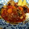 幸運な病のレシピ( 2239 )昼 :ハリラスープ風(トマトスープ)に唐揚げとポテトフライ添え